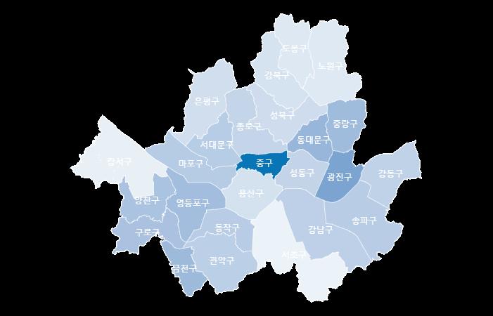 서울시 구별 5대 범죄 발생밀도이미지입니다.